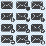 Envelopes Icons, set. Envelopes Icons with heart, dollar symbol, star, arrow, exclamation mark, question mark stock illustration