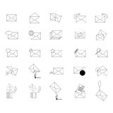 Envelopes. Icons thin lines - envelopes, mail. Collection envelopes. envelopes set. Envelopes on a white background. Vector illustration Stock Photo