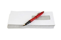 Envelopes for letters and pen Royalty Free Stock Photos
