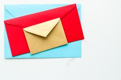 Envelopes on marble background, message concept royalty free stock photos