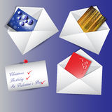Envelopes with messages. Three envelopes with messages on the blue background Stock Photos