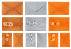 Envelopes in Orange Silver and Tan Royalty Free Stock Photo