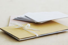 Envelopes and paper stationery elevated view close up studio shot Royalty Free Stock Photo