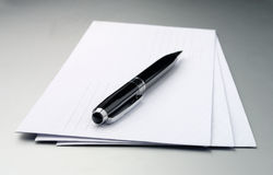 Envelopes and a pen Stock Photo