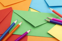 Envelopes and pensils Royalty Free Stock Photos