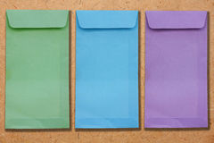 Envelopes on plywood. Color envelopes on the plywood Stock Images
