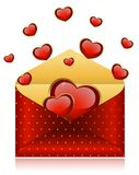 Envelopes with red hearts. Celebratory envelopes with red hearts stock illustration