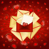Envelopes with red hearts Stock Photos