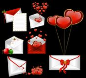 Envelopes with red hearts Royalty Free Stock Photography