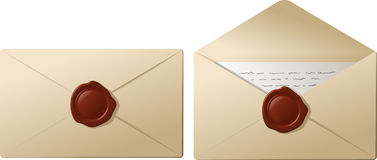 Envelopes with sealing wax Stock Photography