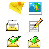 Envelopes set. Envelopes, photo and pen icons Royalty Free Stock Images