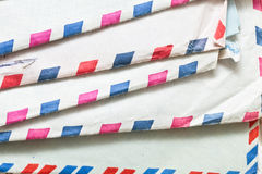 Envelopes. Stack of traditional airmail envelopes Royalty Free Stock Photo