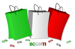 Envelopes tricolor Italy discounts. In vector stock illustration