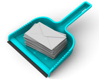 Envelopes with unwanted messages on the scoop. Scoop lies on a white surface with stack unwanted messages SPAM. . 3D Illustration. . 3D Illustration Stock Photo