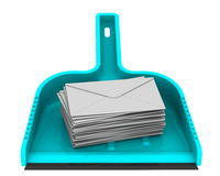 Envelopes with unwanted messages on the scoop. Scoop lies on a white surface with stack unwanted messages SPAM. . 3D Illustration. Isolated. 3D Illustration Royalty Free Stock Image