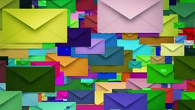 Envelopes in various colors stock video footage