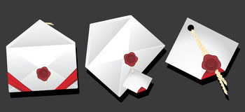 Envelopes with wax seal stock photography