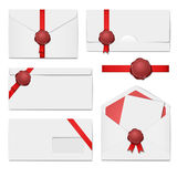 Envelopes with a wax seal set Royalty Free Stock Image