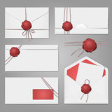 Envelopes with a wax seal set Stock Photo