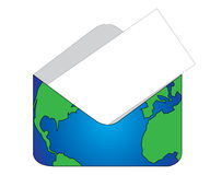 Enveloppe. World enveloppe with white card for information Stock Images