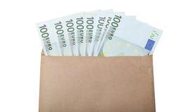 Enveloppe avec d'euro notes images libres de droits