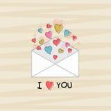 Enveloppe avec des coeurs pour la célébration de Saint-Valentin Images stock