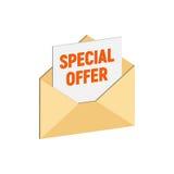 Enveloppe avec l'offre spéciale, symbole de concept de vente d'email Images stock