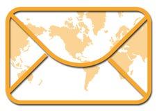 Enveloppe avec la carte du monde Illustration de Vecteur