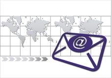 Enveloppe avec la carte du monde Illustration Stock