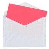 Enveloppe avec la carte rouge vierge Photos stock