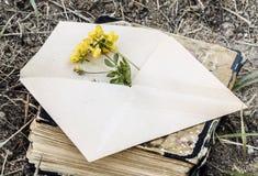 Enveloppe avec la fleur Images libres de droits
