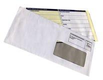 Enveloppe avec la forme vide de questionnaire, d'isolement, Image stock