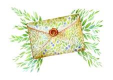 Enveloppe avec la lettre et les branches Carte postale du courrier message Image stock