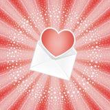 Enveloppe avec le coeur rouge Photos libres de droits