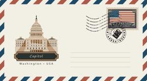 Enveloppe avec un timbre-poste avec le capitol Images libres de droits