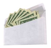 Enveloppe blanche avec des dollars sur le fond blanc, Photographie stock