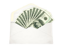 Enveloppe blanche avec l'argent photo libre de droits