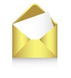 Enveloppe d'or avec une feuille de papier, vecteur Image stock