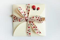Enveloppe de cadeau avec l'arc et les coccinelles Images stock