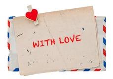 Enveloppe de la poste aérienne de vintage rétro lettre d'amour de courrier Photo libre de droits
