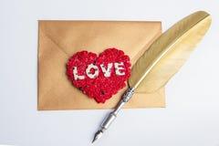 Enveloppe de lettre d'amour, concept de valentine Photographie stock libre de droits