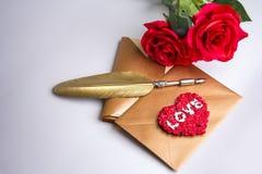 Enveloppe de lettre d'amour, concept de valentine Images libres de droits