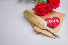 Enveloppe de lettre d'amour, concept de valentine Image libre de droits