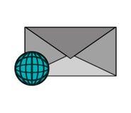 Enveloppe de message et icône de diagramme de globe de la terre Photo libre de droits