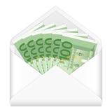Enveloppe et cent euro billets de banque Photo stock