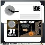 Enveloppe et une invitation à une partie célébrant Halloween Photographie stock libre de droits