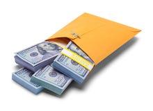 Enveloppe jaune complètement d'argent Photos libres de droits