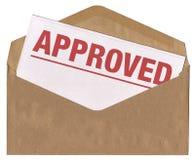 Enveloppe - lettre approuvée de notification Photographie stock