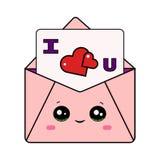 Enveloppe mignonne de Valentine avec la lettre de l'amour U d'I illustration de vecteur