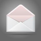 Enveloppe ouverte par blanc vide de vecteur d'isolement en fonction Photos stock